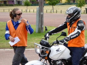 Polly Peterson teaching motorcyle riding